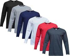 Mens 100% Cotton Plain Crew Neck Long Sleeve T-Shirt Top Winter Golf Top S-XXL
