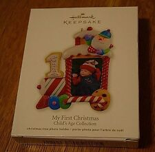 Hallmark My First Christmas Babys 1st Childs Age Train Frame Ornament 1 Yr Nib