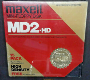 "(15) NEW Sealed Maxell MD2-D 5 1/4"" Mini Floppy Disk w/ Storage Case DSHD NOS"
