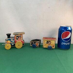 Vtg 1950's? Fisher Price Wood CHOO CHOO TRAIN Pull Toy Train 3 Engine Coal Car