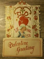 vintage valentine die cut fan fold out embossed card large size also stand up