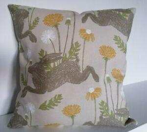 "16"" Cushion Cover Clarke + Clarke  March Hare Dandelions Ochre Yellow Sage Green"