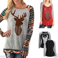 Fashion Women Pullover T Shirt Christmas Reindeer Long Sleeve Casual Blouse Tops