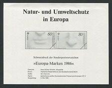 BUND SD 1278/79 EUROPA CEPT 1986 SCHWARZDRUCK BLACK PRINT d140/2