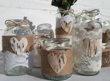 10 Rustic Vintage Wedding Lights Handmade Glass Dusty Lace Jars Candle Holders