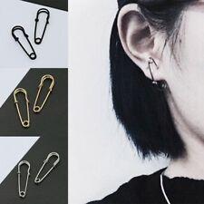 Fashion Punk Safety Pin Ear Hook Stud Drop Dangle Simple Unique Earrings Jewelry