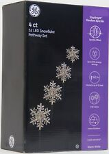 GE 4 ct 9 in 52 LED Random Sparkle Christmas Snowflakes Pathway Markers NIB