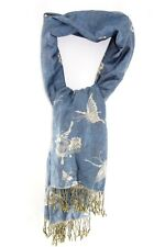 RETRO TUFTS BLUE/BEIGE PASHMINA SCARF WITH BUTTERFLY PATTERN DESIGN(MS28)