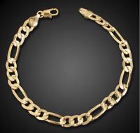 18k Goldkette Armband Panzerkette Arm Schmuck  Herren Männer Damen vergoldet GA9