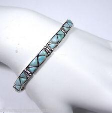 AAA Genuine Dominican Larimar 925 Sterling Silver Link Tennis Bracelet 7.5''
