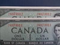 1954 Canada 1 Dollar Bank Note-Beattie/Coyne RL8973911-12 -UNC Cond.  21-43