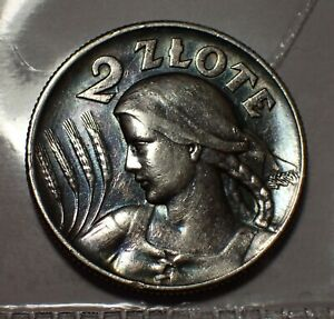 Poland 2 Zlote 1925 Silver London Mint Dot After Date   WCA # 113