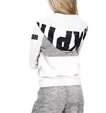 Victoria Secret PINK Perfect Marl Grey/White Full Zip Hoodie ~ Size L