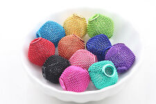 Large Mesh Bling Rondelle Ball Beads Big Hole Colorful For European Charm  Craft