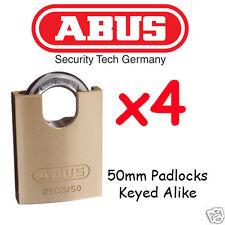 Padlocks KEYED ALIKE ABUS  HUGE 50mm concealed Shackle x4 BULK LOT High quality