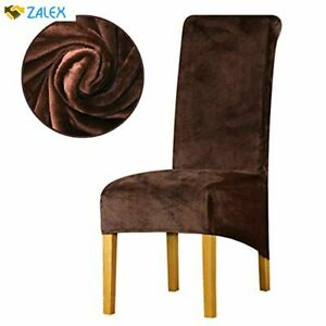 KELUINA Velvet Plush XL Dining Chair Covers, Stretch Chaircover, Spandex High Ch