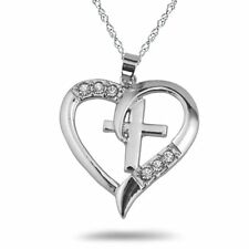 Vintage Heart Love Rhinestone Holy Cross Religious Chain Couple Pendant Necklace