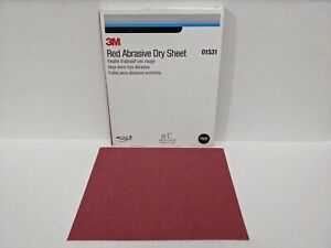 """MMM 01531 Red Abrasive Dry Sandpaper Sheets 9"""" x 11"""" sheets, 80 grit Pack of 50"""