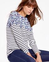 Joules Harbour Womens Print Jersey Top Shirt in Cream Blue Floral Border