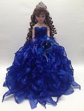 NEW Royal Blue 20 inch 15 Anos Quinceanera Ruffle Porcelain Umbrella Muñeca Doll