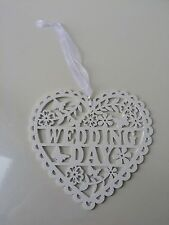 White Wedding Day Wooden Heart Shape Hanging Decoration 19.5 x 20cm