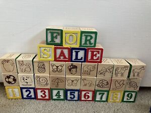 Lot Of 50 ABC Number Wooden Blocks For Kids Or Crafts