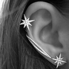 Fashion Womens Punk Gothic Snowflake Rhinestone Clip Ear Cuff Wrap Stud Earrings