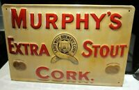 MURPHY'S EXTRA STOUT, CORK : EMBOSSED 3D METAL  ADVERTISING SIGN 30x20cm IRELAND