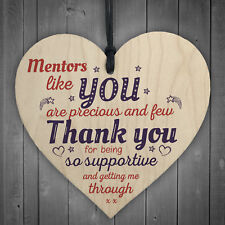 Mentors Like You Novelty Wooden Hanging Heart Leaving Gift Plaque Thank You