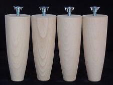 4 BEECH LEGS / FEET 150mm (6 in) long Ø 57mm M8 Bolt T-nut  BED / CHAIR RISERS