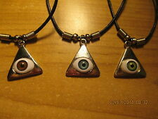3 New in Package PYRAMID EYE NECKLACE Blue, Brown, and Green with clasp