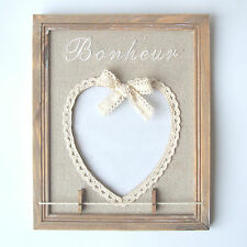 FRENCH VINTAGE HEART PICTURE PHOTO FRAME WITH PEGS - BONHEUR - NEW