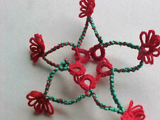 1 Tatting Red Green Star Shuttle Tatted for Wreaths Quilts Christmas Cards
