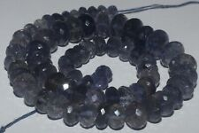 164CARTS 6to10MM NATURAL GEMSTONE IOLITE FACETED RONDELLE BEADS STARND #978