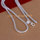 2pcs 925sterling Solid Silver Men Jewelry 4mm Snake Chain 16- 24 Inch Necklace