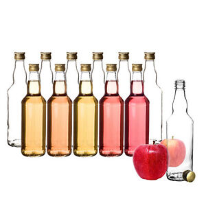 12 Glasflaschen mit Schraubverschluss Deckel 500ml Saft Likör Öl Schnaps Flasche