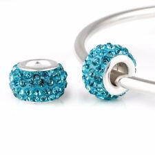 Rhinestone Glass Silver Charm Bead fits European Bracelet 5 Colours + Gift Pouch