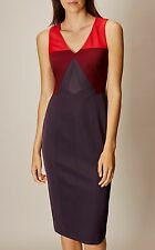 Karen Millen Colourblock Red/Multi Dress Size 16