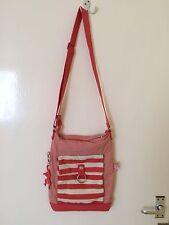 Kipling Two Tone Pink White Striped Shoulder Cross Body Messenger Bag