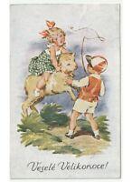 1929 A. Lukasova Tarjeta Postal Niños Juego Con Cordero Pascua Velikonoce