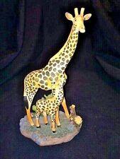 "Giraffe Mom And Baby Figurine Resin 9.5"" Tall African Safari"