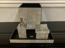 4Pc BELLA LUX Rhinestone Mirror Crystal Iridescent Soap Jar Can Bath Set Luxury