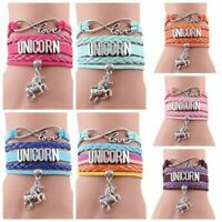 Women Unicorn Horse Pendant Leather Bracelets Party Jewelry  Magic Casual