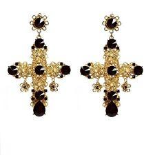 Byzantine Baroque Style White Beads Black Crystal Filigree Cross Earrings Gold