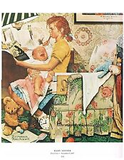 """Norman Rockwell print: """"BABY SITTER"""" or """"A HARD NIGHTS WORK"""" 11"""" x 15"""""""