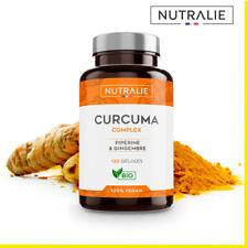 Curcuma BIO 100% naturel, Curcumine, Gingembre et Pipérine, 120 gélules Végans