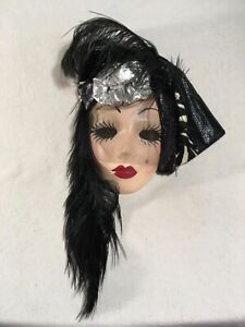 Fancy Faces New Orleans Porcelain Face Mask Hat Feathers Signed (A)