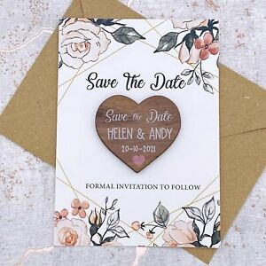 Personalised Walnut Rustic Save The Date Heart Fridge Magnet, Card Invite