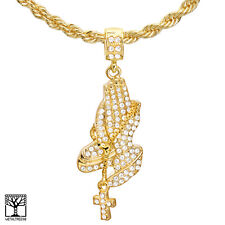 """Men's Gold Plated Pray Hand with Cross Pendant 22"""" Chain Necklace HC 1176 G"""