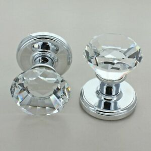Diamond Crystal Faceted Clear Glass Mortice Door Knobs